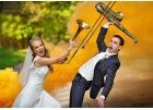 Музыкальная свадебная фотосессия с цветным дымом