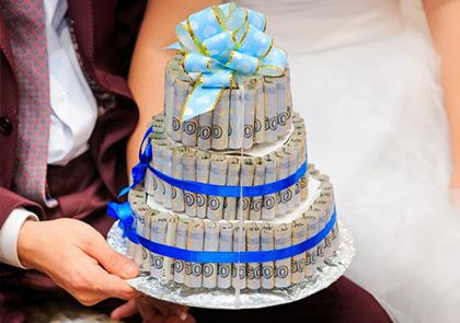 Как оригинально подарить деньги на свадьбу торт из денег