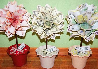 Как оригинально подарить деньги на свадьбу денежное дерево