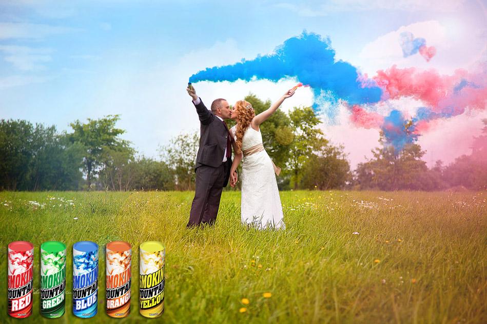 Набор цветного дыма Smoke Fountain комплект для фотосессии 5 штук