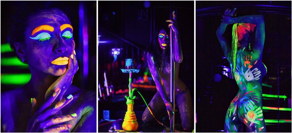 девушки в ультрафиолете в красках waterpaint