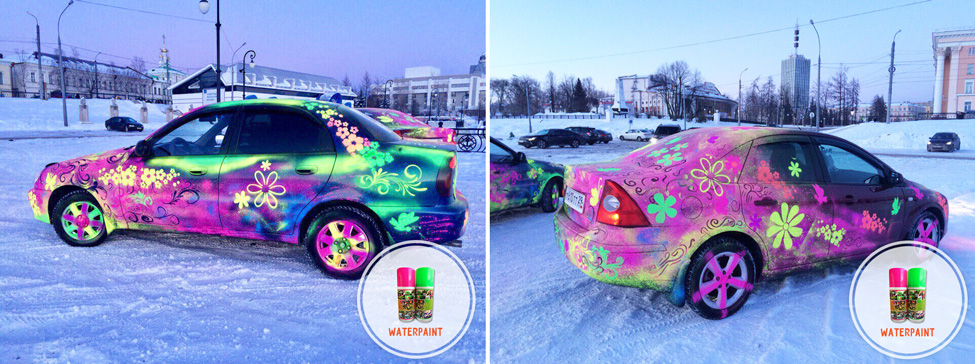 временная смываемая краска оформление автомобиля