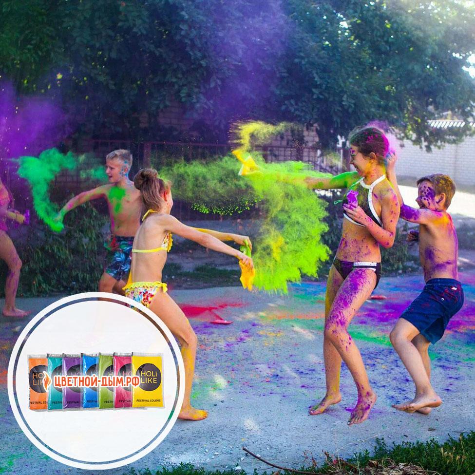 детская вечеринка с цветной краской