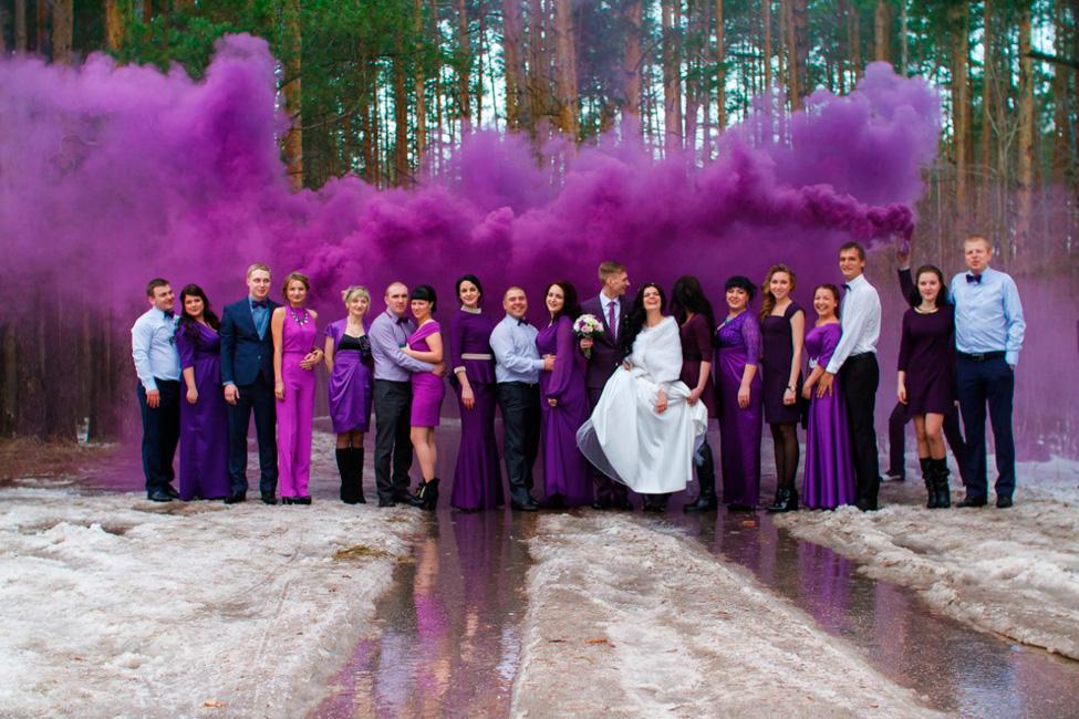 Купить фиолетовый дым для свадебной фотосессии smoke bomb violet