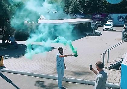 Рекламное видео с цветным дымом в Оренбурге ресторан Космос
